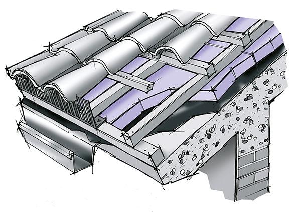 Isolamento termico sopra guaina bituminosa di coperture a - Tetto a falde inclinate ...